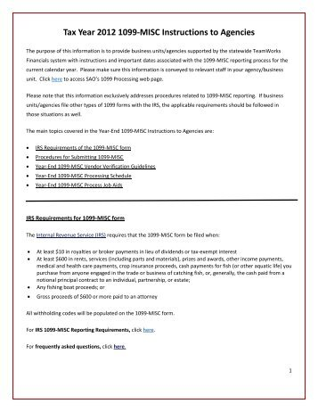 Tax Year 2012 1099-MISC Instructions to Agencies - State ...