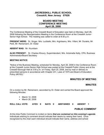 CBOE April 28, 2008 Reg Mtg Minutes (pdf) - Cresskill Public Schools