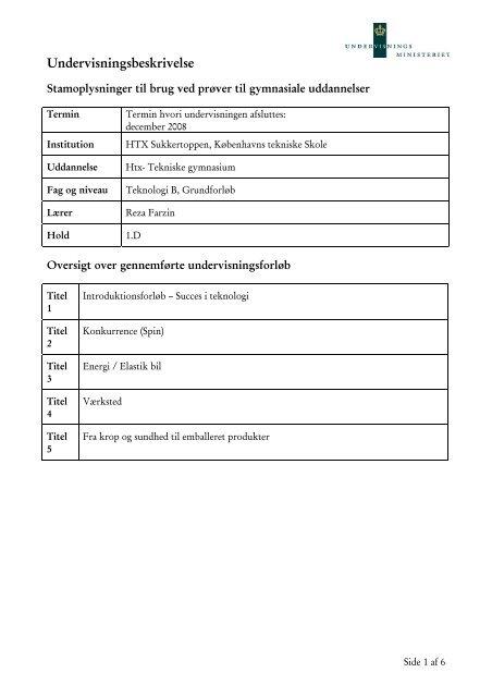 Teknologi B 1D 2008-2009.pdf - Københavns Tekniske Skole