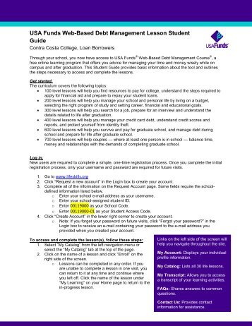 USA Funds Web-Based Debt Management Lesson Student Guide