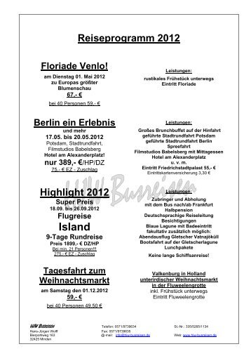 Reiseprogramm 2012 - bei HJW-Busreisen