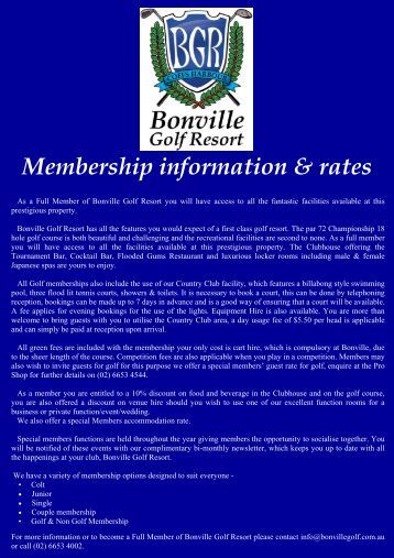 Bonville Golf Resort Membership info & Rates 2010-2011