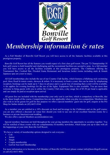 Bonville Golf Resort Membership info & Rates 2010-2011