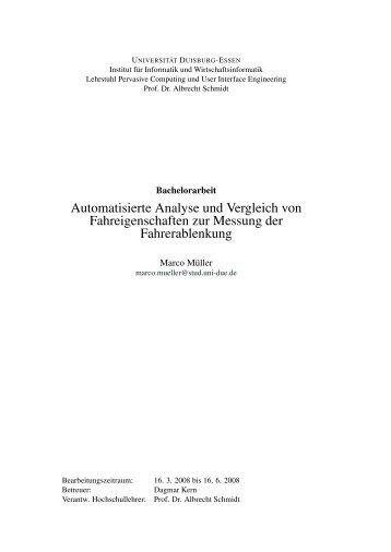 Automatisierte Analyse und Vergleich von Fahreigenschaften zur ...
