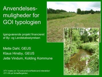 Anvendelsesmuligheder for GOI typologien - ATV - Jord og Grundvand