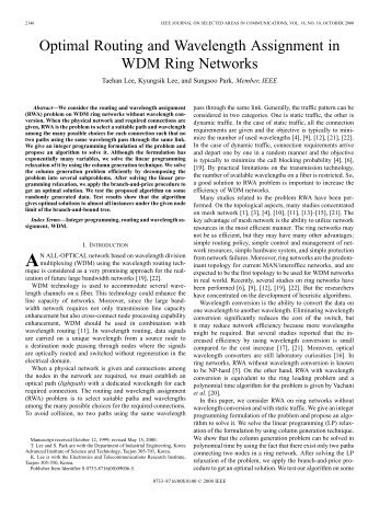 Optimal routing and wavelength assignment in WDM ring networks ...
