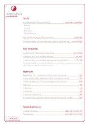 Treatment list - Denia Marriott La Sella Golf Resort & Spa