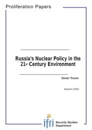 Russia's Nuclear Policy in the 21st Century Environment - Ifri