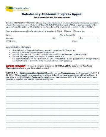 Satisfactory Academic Progress Appeal Form - Chattahoochee ...