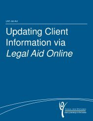 Updating Client Information via Legal Aid Online - Legal Aid Ontario