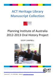 ACT Heritage Library Manuscript Collection - Libraries ACT