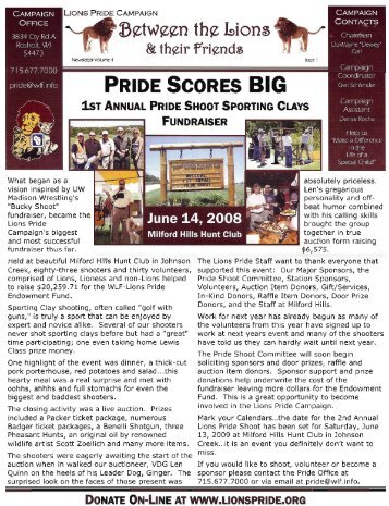 Newsletter (2008) - Lions Pride Campaign