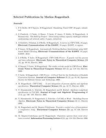 Selected Publications by Markus Roggenbach - Department of ...