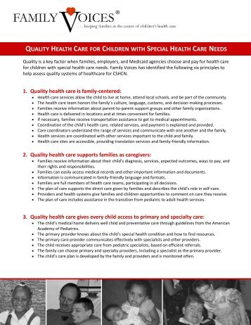 quality health care for children with special health care needs