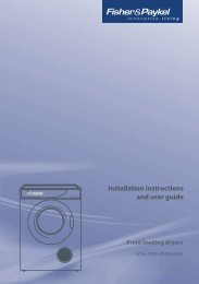 Installation instructions and user guide - Fisher & Paykel