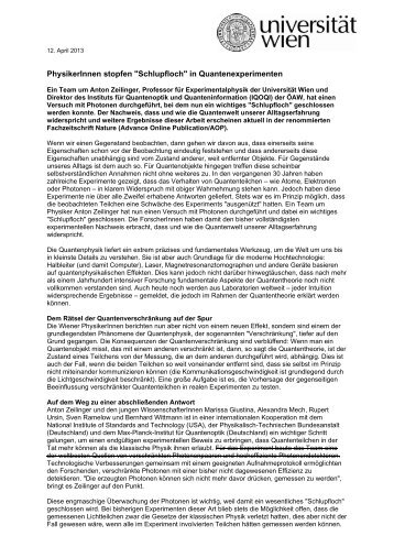 """PhysikerInnen stopfen """"Schlupfloch"""" in Quantenexperimenten"""