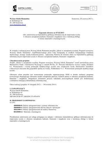 Zapytanie ofertowe - 07 - Modele 4 1 1 - Wyższa Szkoła Humanitas