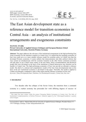The East Asian development state as a reference model for ...