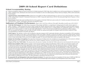 School Report Card Definitions - TEA - Home School Information