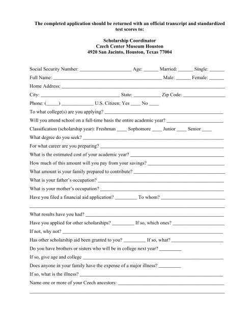 to print out PDF of scholarship application form  - Czech