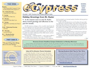 Holiday Greetings from Dr. Kasler - News... - Cypress College