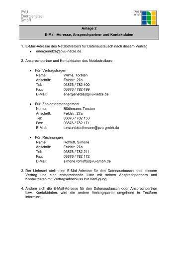 Anlage 2 E-Mail-Adresse, Ansprechpartner und Kontaktdaten 1. E ...