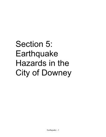 Section 5: Earthquake Hazards in the City of Downey