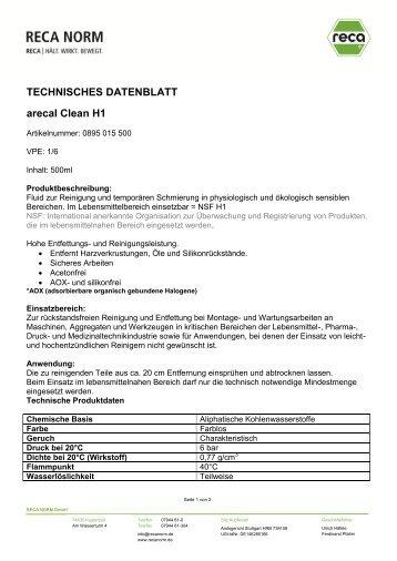 TECHNISCHES DATENBLATT arecal Clean H1 - RECA NORM