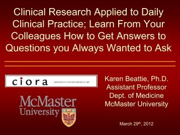 Clinical Research Applied to Daily Clinical Practice