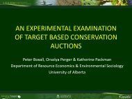 An Experimental Examination of Target Based Conservation Auctions