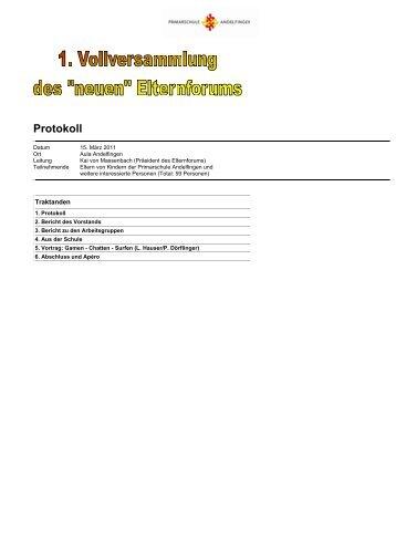 Protokoll der Vollversammlung vom 15. März 2011 - Primarschule ...