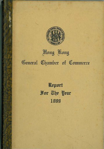 1899 - The Hong Kong General Chamber of Commerce