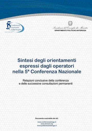 da pag. 2 a 8 - 5a Conferenza nazionale sulle droghe