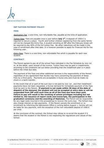 ISP Tuition Payment Policy - International School of Paris