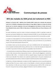 Communiqué de presse SIDA RDC - Médecins Sans Frontières