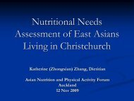 Nutritional Needs Assessment of East Asians Living in Christchurch