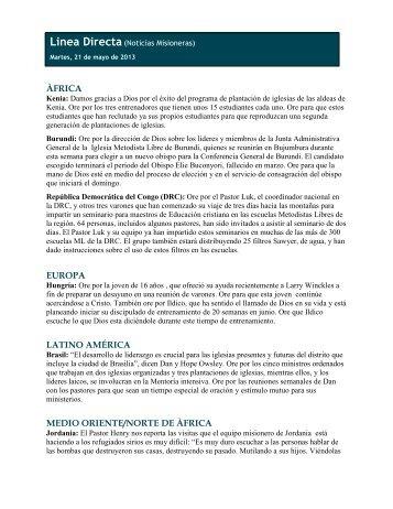 ÀFRICA EUROPA LATINO AMÉRICA MEDIO ORIENTE/NORTE DE ...