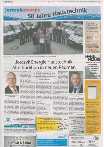 Jorczyk Energie feiert 50 Jahre Haustechnik CZ 13.9