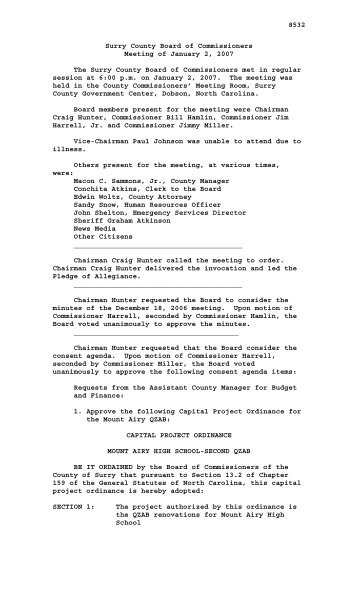 2007 Meeting Minutes - Surry County