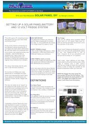 setting up a solar panel/battery and 12 volt fridge system ... - Soterion