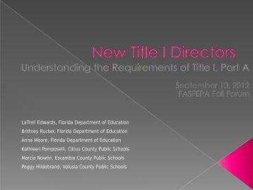 New Title I Directors - ectac