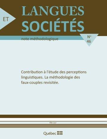 contribution à l'étude des perceptions linguistiques - Office ...