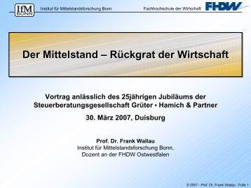 Prof. Frank Wallau - Der Mittelstand (2.710 KB) - 25-jahre-ghp.de
