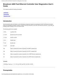 Broadcom 440X Fast Ethernet Controller User Diagnostics User's ...