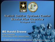 Natick Soldier Systems Center Master Plan Overview - U.S. Army