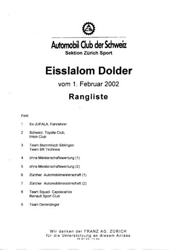 Rangliste - Autosport Ranglisten