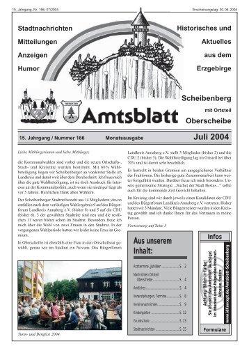 Juli 2004 Aus unserem Inhalt: - Scheibenberg