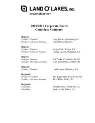 2010/2011 Corporate Board Candidate Summary - Land O'Lakes Inc.