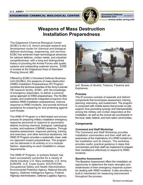 Weapons of Mass Destruction Installation Preparedness