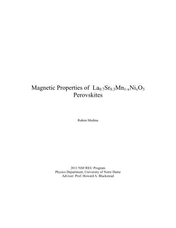 Magnetic Properties of La0.7Sr0.3Mn1-xNixO3 Perovskites - Physics ...